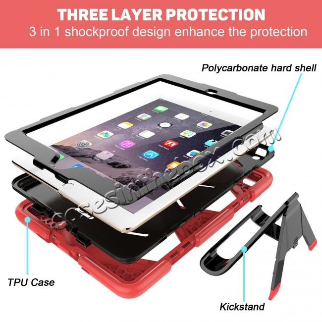 best price Shockproof Rugged Cover Three Layer Hard PC+Silicone Case For New iPad 9.7Inch 2017 - Red