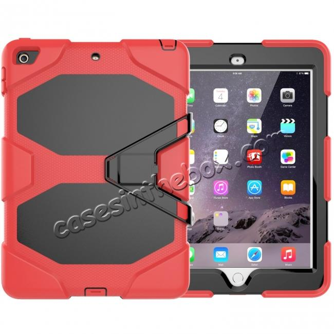 wholesale Shockproof Rugged Cover Three Layer Hard PC+Silicone Case For New iPad 9.7Inch 2017 - Red