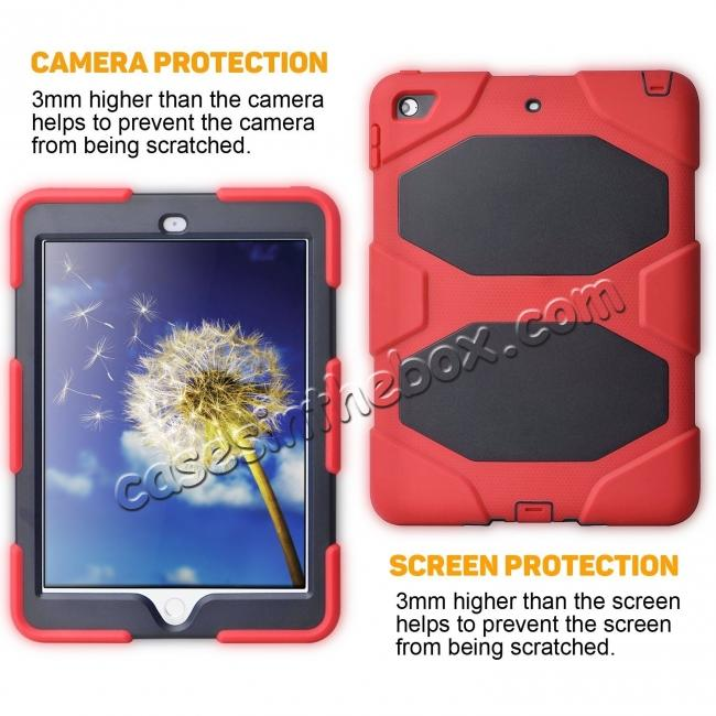 top quality Shockproof Rugged Cover Three Layer Hard PC+Silicone Case For New iPad 9.7Inch 2017 - Red