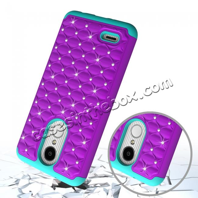 top quality Cute Girls Women Bling Glitter Hybrid Full Body Phone Case Cover For LG Tribute Dynasty / Aristo 2 - Purple&Teal