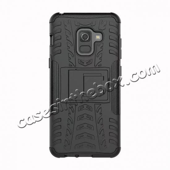 low price For Samsung Galaxy A8 2018 Case Rugged Armor Protective Cover with Kickstand - Black