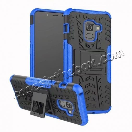 wholesale For Samsung Galaxy A8 2018 Case Rugged Armor Protective Cover with Kickstand - Blue