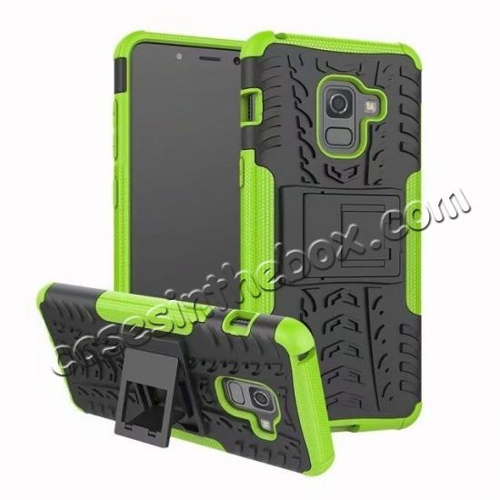 wholesale For Samsung Galaxy A8 2018 Case Rugged Armor Protective Cover with Kickstand - Green