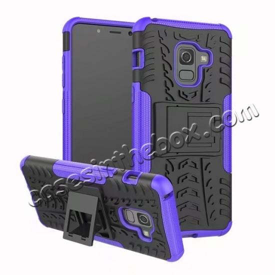 wholesale For Samsung Galaxy A8 2018 Case Rugged Armor Protective Cover with Kickstand - Purple