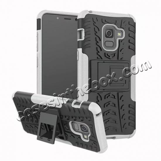 wholesale For Samsung Galaxy A8 2018 Case Rugged Armor Protective Cover with Kickstand - White