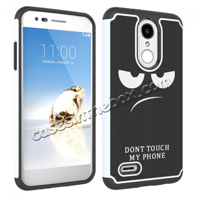 cheap Full Body Hybrid Dual Layer ShockProof Protective Case For LG Tribute Dynasty / Aristo 2 - White&Black