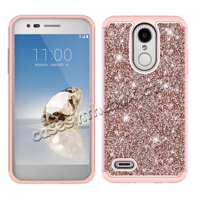 discount Luxury Bling Glitter Hard Plastic Back Case Cover For LG Tribute Dynasty / LG Aristo 2 - Rose gold