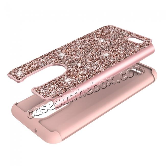 low price Luxury Bling Glitter Hard Plastic Back Case Cover For LG Tribute Dynasty / LG Aristo 2 - Rose gold