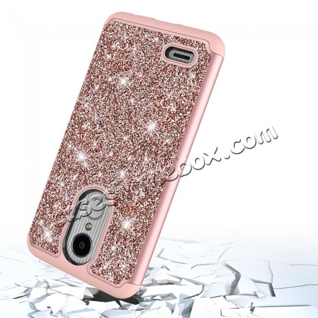 top quality Luxury Bling Glitter Hard Plastic Back Case Cover For LG Tribute Dynasty / LG Aristo 2 - Rose gold