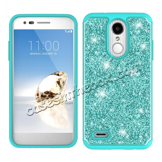 discount Luxury Bling Glitter Hard Plastic Back Case Cover For LG Tribute Dynasty / LG Aristo 2 - Teal