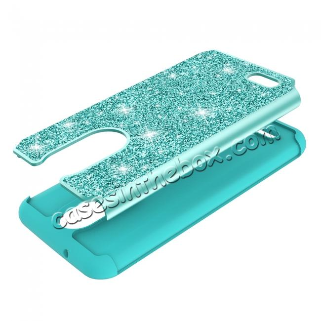 low price Luxury Bling Glitter Hard Plastic Back Case Cover For LG Tribute Dynasty / LG Aristo 2 - Teal