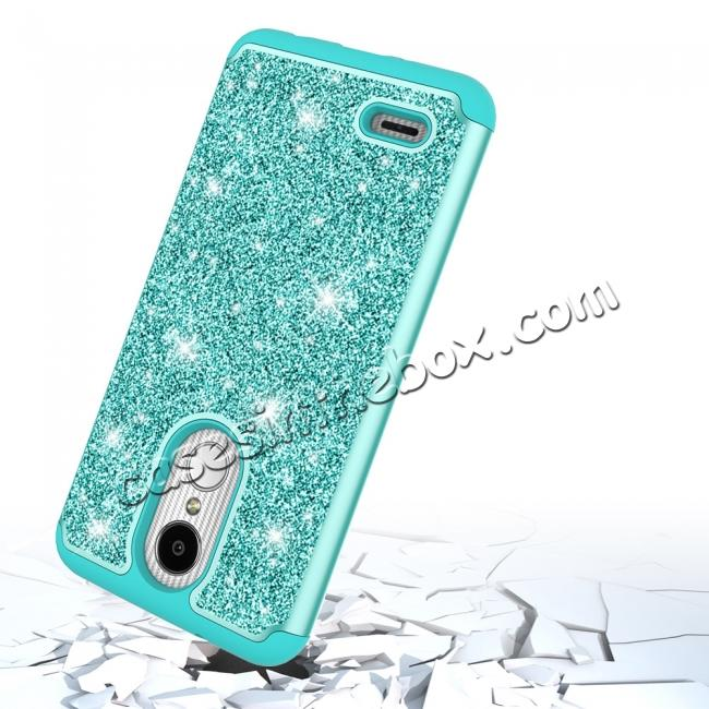 top quality Luxury Bling Glitter Hard Plastic Back Case Cover For LG Tribute Dynasty / LG Aristo 2 - Teal
