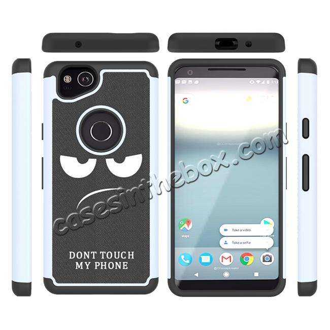 cheap Patterned Hybrid Dual Layer Full-body Protective Case Cover For Google Pixel 2 - White&Black