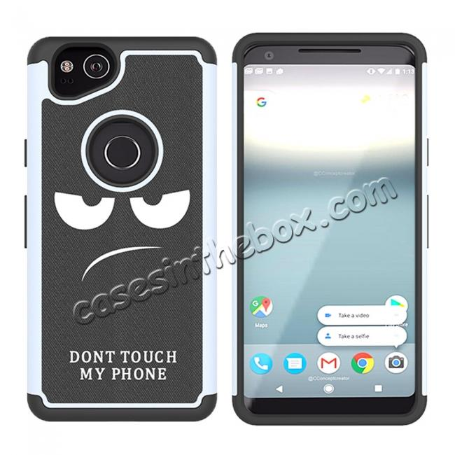 top quality Patterned Hybrid Dual Layer Full-body Protective Case Cover For Google Pixel 2 - White&Black