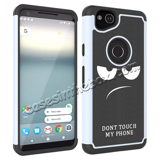 discount Patterned Hybrid Dual Layer Full-body Protective Case Cover For Google Pixel 2 - White&Black