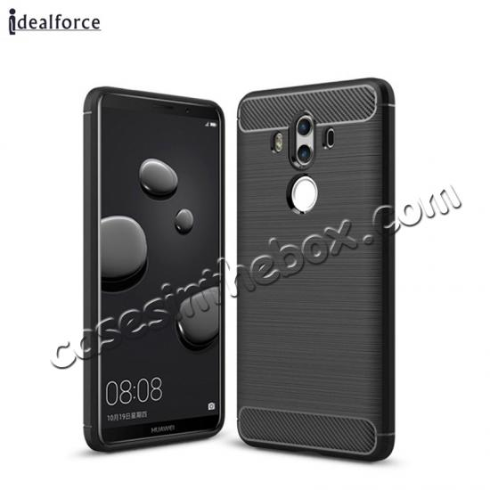 wholesale Silicone Soft TPU Shockproof Brushed Carbon Fiber Case for Huawei Mate 10 Pro - Black