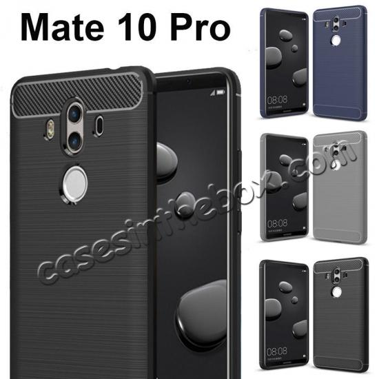 discount Silicone Soft TPU Shockproof Brushed Carbon Fiber Case for Huawei Mate 10 Pro - Black
