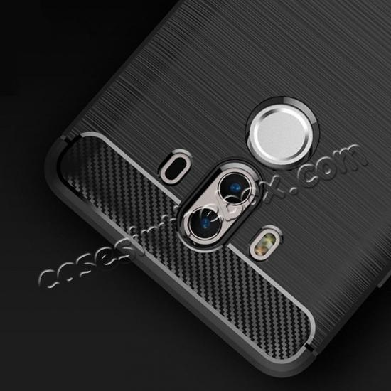 china wholesale Silicone Soft TPU Shockproof Brushed Carbon Fiber Case for Huawei Mate 10 Pro - Black
