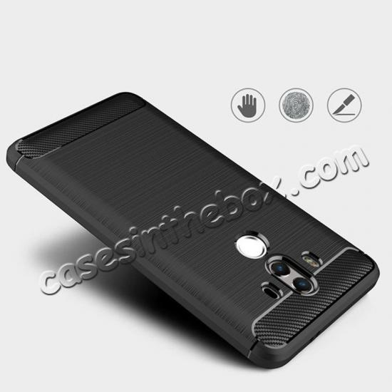 low price Silicone Soft TPU Shockproof Brushed Carbon Fiber Case for Huawei Mate 10 Pro - Black