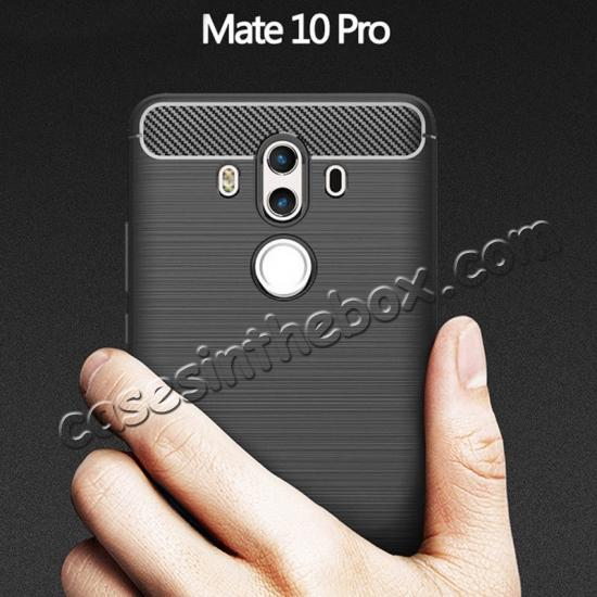 cheap Silicone Soft TPU Shockproof Brushed Carbon Fiber Case for Huawei Mate 10 Pro - Black