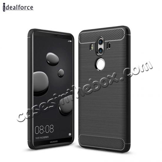 high quanlity Silicone Soft TPU Shockproof Brushed Carbon Fiber Case for Huawei Mate 10 Pro - Black