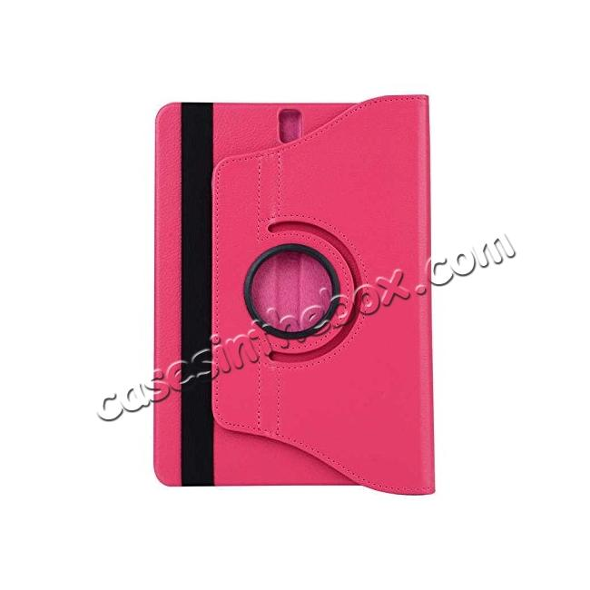 cheap Slim Folio Stand PU Leather Case Cover Samsung Galaxy Tab S3 9.7 SM-T820 / SM-T825 - Hot Pink