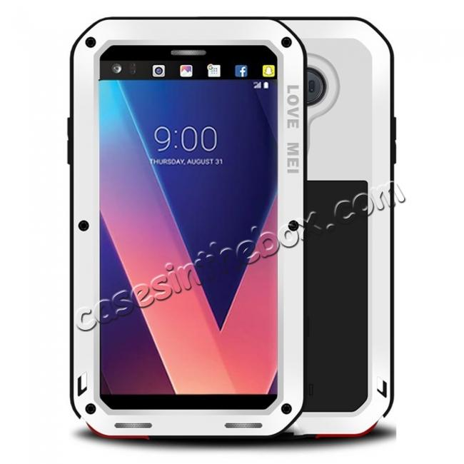 wholesale Aluminum Metal Bumper Gorilla Glass Silicone Military Shockproof Water resistant Case For LG V30 - White