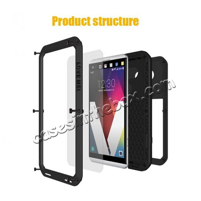 discount Aluminum Metal Bumper Gorilla Glass Silicone Military Shockproof Water resistant Case For LG V30 - White