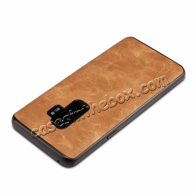 best price Luxury PU Leather Shockproof Slim Case Cover For Samsung Galaxy S9+ Plus - Brown