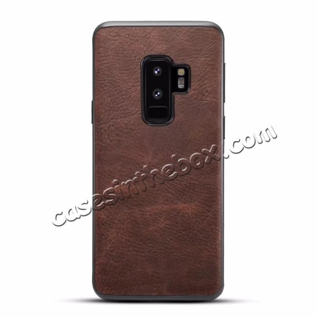 wholesale Luxury PU Leather Shockproof Slim Case Cover For Samsung Galaxy S9+ Plus - Coffee