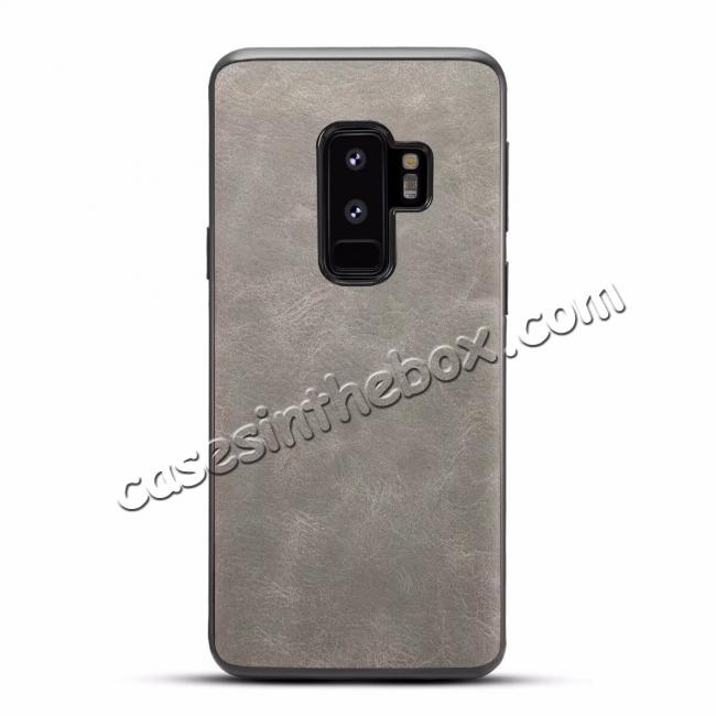 wholesale Luxury PU Leather Shockproof Slim Case Cover For Samsung Galaxy S9+ Plus - Light Gray