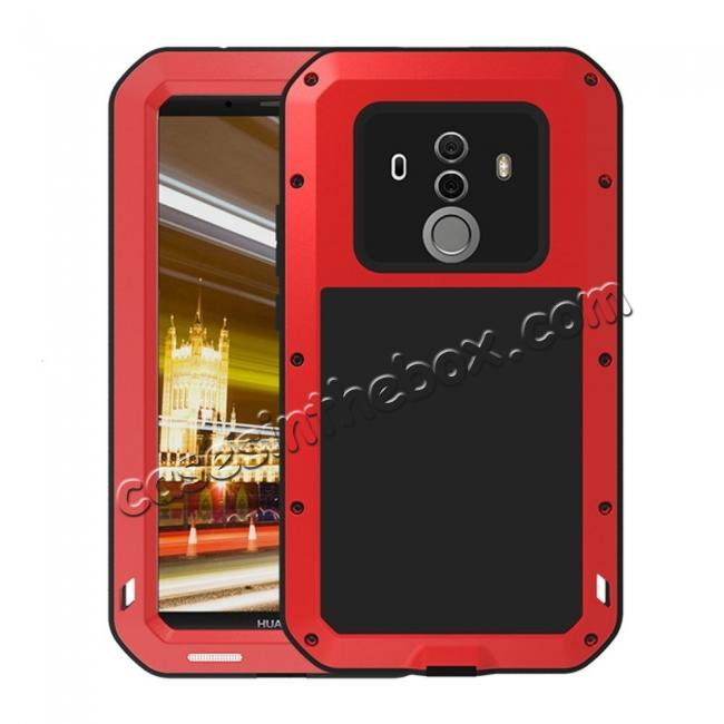 wholesale Shockproof Aluminum Metal Silicone Fully Body Protection Case for Huawei Mate 10 Pro - Red