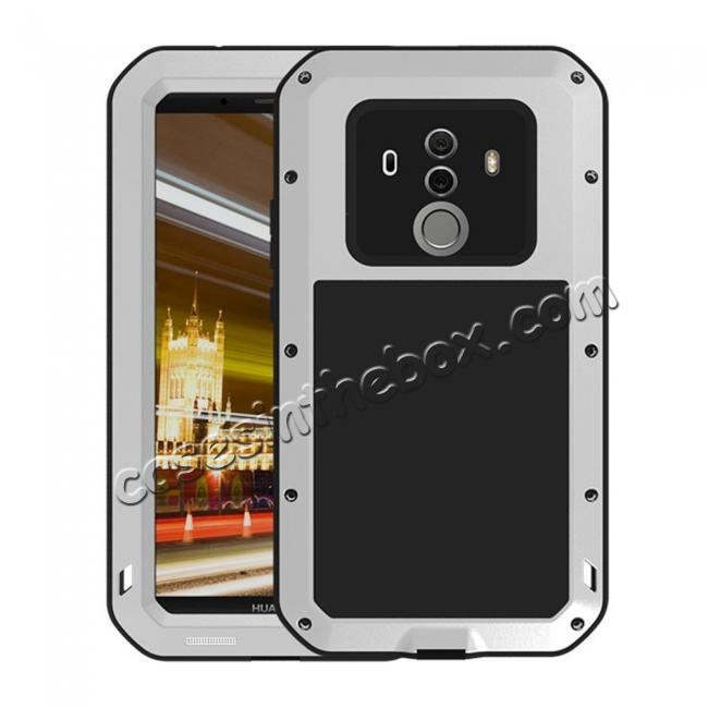 wholesale Shockproof Aluminum Metal Silicone Fully Body Protection Case for Huawei Mate 10 Pro - Silver