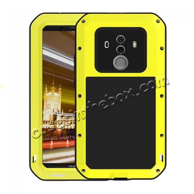 wholesale Shockproof Aluminum Metal Silicone Fully Body Protection Case for Huawei Mate 10 Pro - Yellow