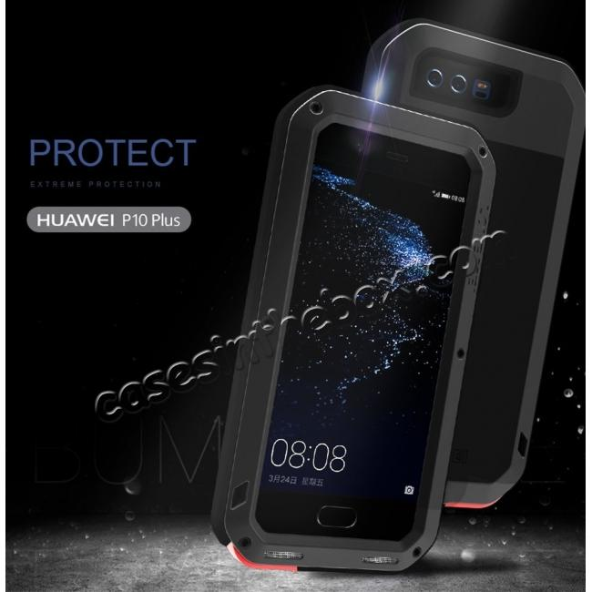 cheap Shockproof Dustproof Powerfull Aluminum Metal with Tempered Glass Case Cover For Huawei P10 Plus - Red