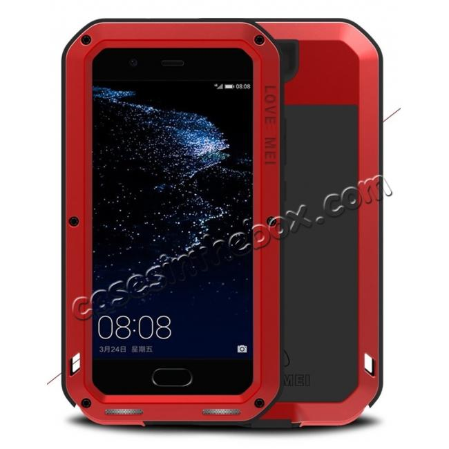 wholesale Shockproof Dustproof Powerfull Aluminum Metal with Tempered Glass Case Cover For Huawei P10 Plus - Red