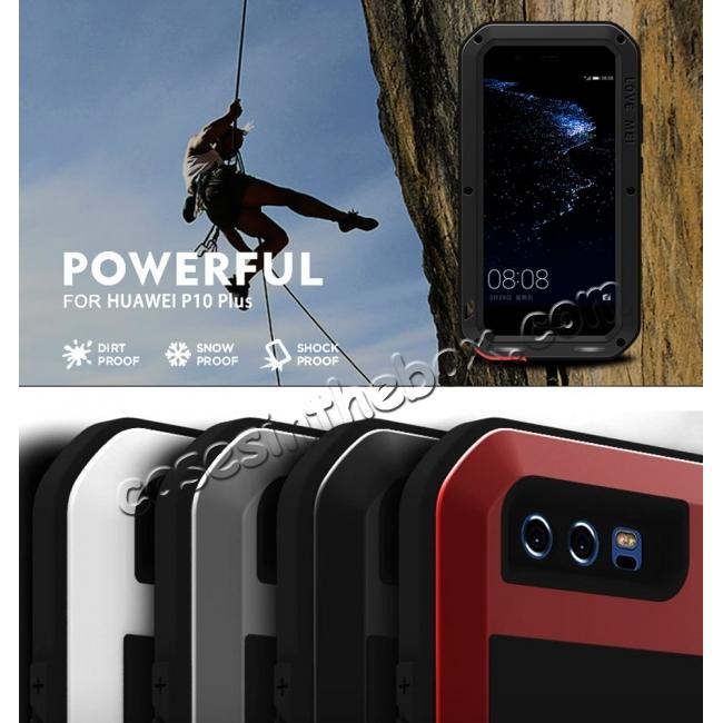 on sale Shockproof Dustproof Powerfull Aluminum Metal with Tempered Glass Case Cover For Huawei P10 Plus - Red