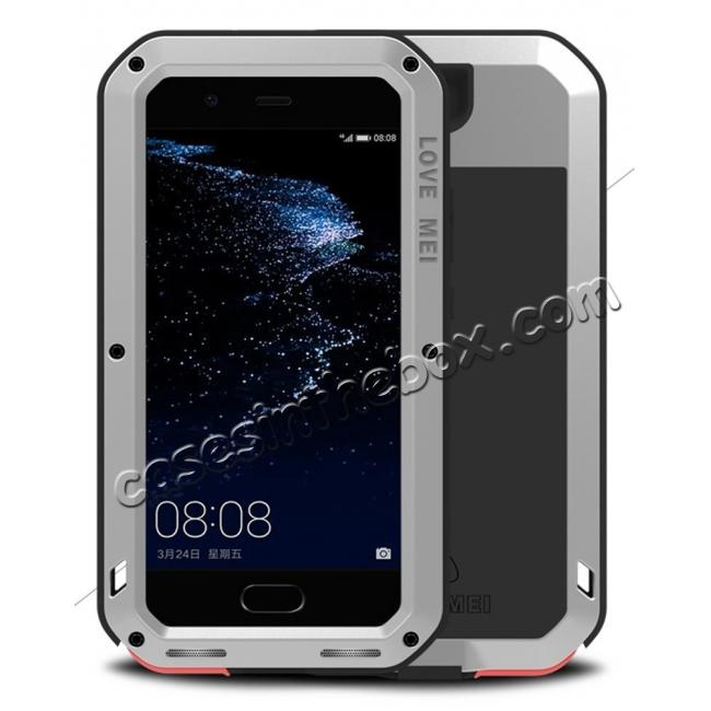 wholesale Shockproof Dustproof Powerfull Aluminum Metal with Tempered Glass Case Cover For Huawei P10 Plus - Silver