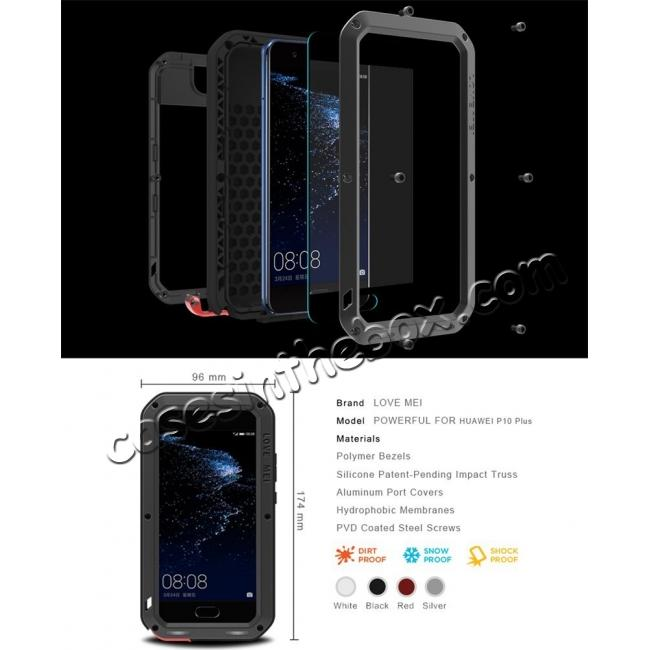 high quanlity Shockproof Dustproof Powerfull Aluminum Metal with Tempered Glass Case Cover For Huawei P10 Plus - White