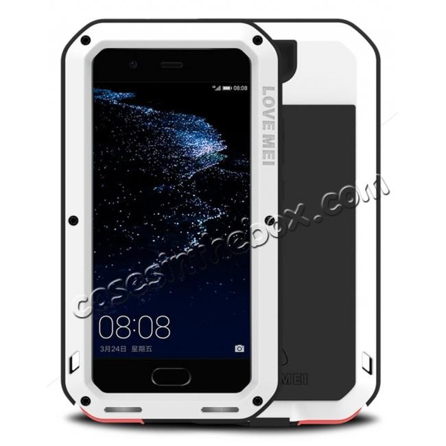 wholesale Shockproof Dustproof Powerfull Aluminum Metal with Tempered Glass Case Cover For Huawei P10 Plus - White