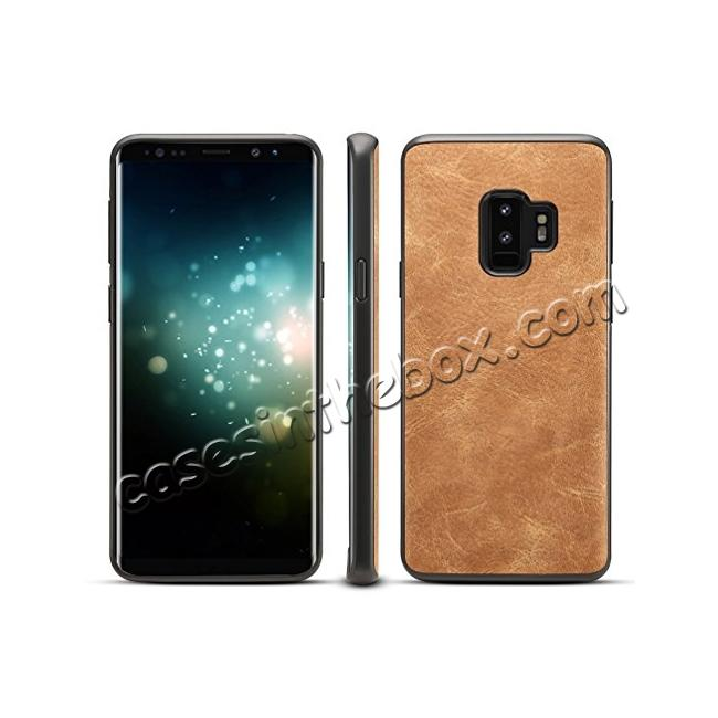 on sale Ultra Slim Shockproof Soft PU Leather Case Cover For Samsung Galaxy S9 S9 Plus - Brown