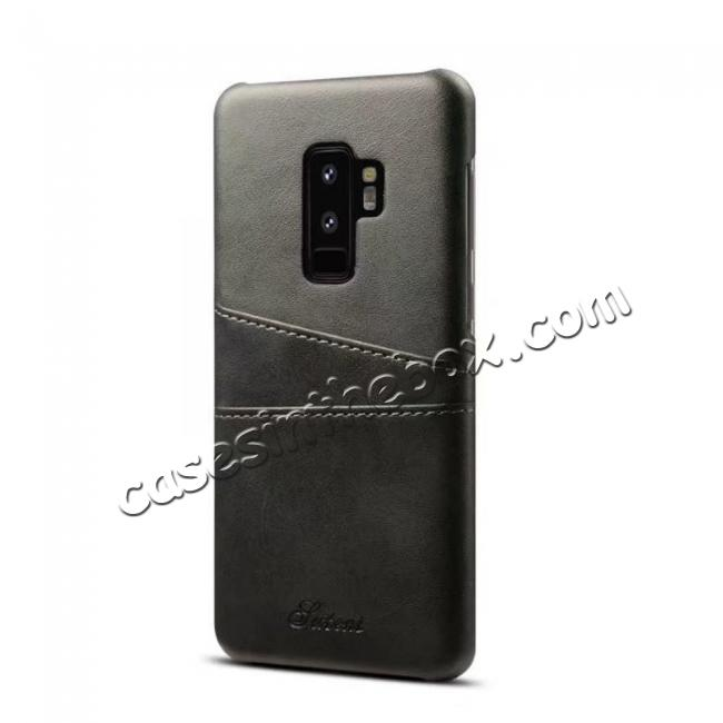 wholesale Wallet Style 2 Card Slots Leather Case Back Cover for Samsung Galaxy S9 S9 Plus - Black