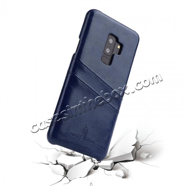 cheap 2 Credit Card Slots Luxury Oil Wax Pattern PU Leather Case for Samsung Galaxy S9+ - Dark Blue