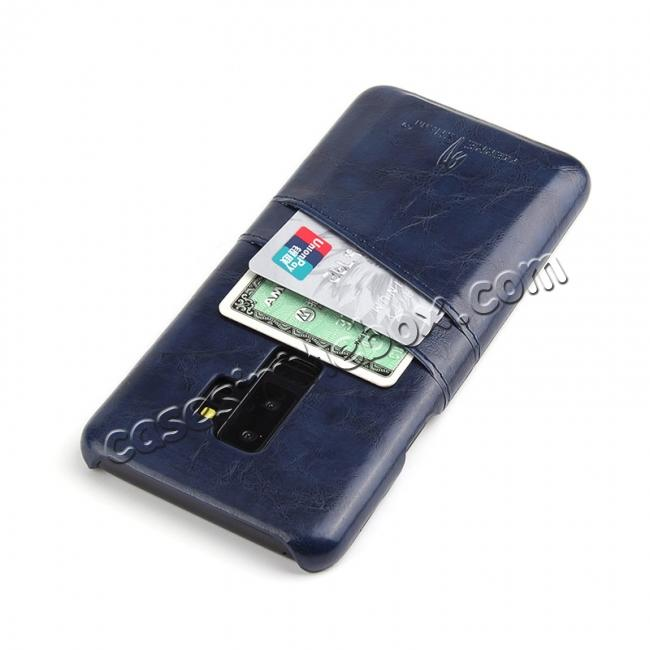 best price 2 Credit Card Slots Luxury Oil Wax Pattern PU Leather Case for Samsung Galaxy S9+ - Dark Blue