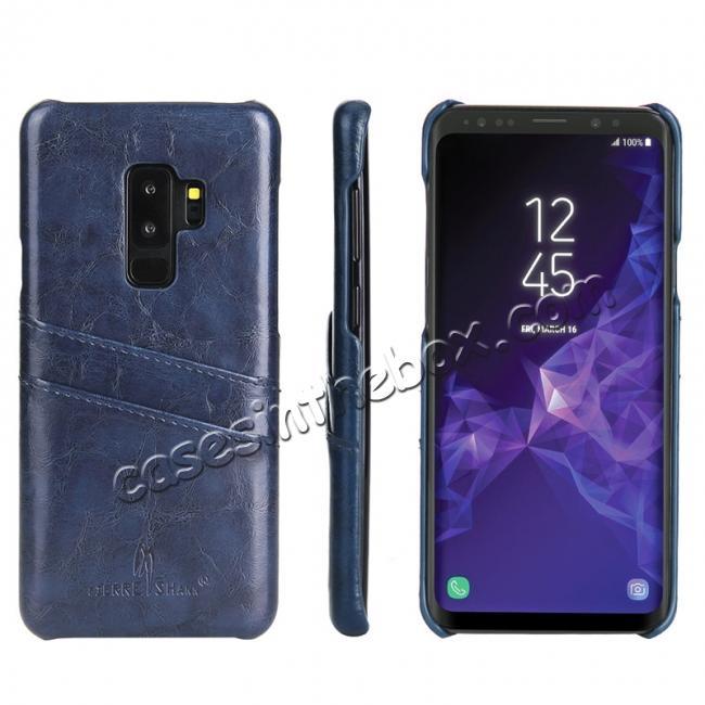wholesale 2 Credit Card Slots Luxury Oil Wax Pattern PU Leather Case for Samsung Galaxy S9+ - Dark Blue