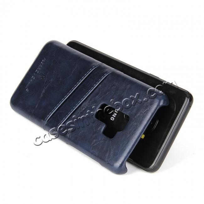 top quality 2 Credit Card Slots Luxury Oil Wax Pattern PU Leather Case for Samsung Galaxy S9+ - Dark Blue