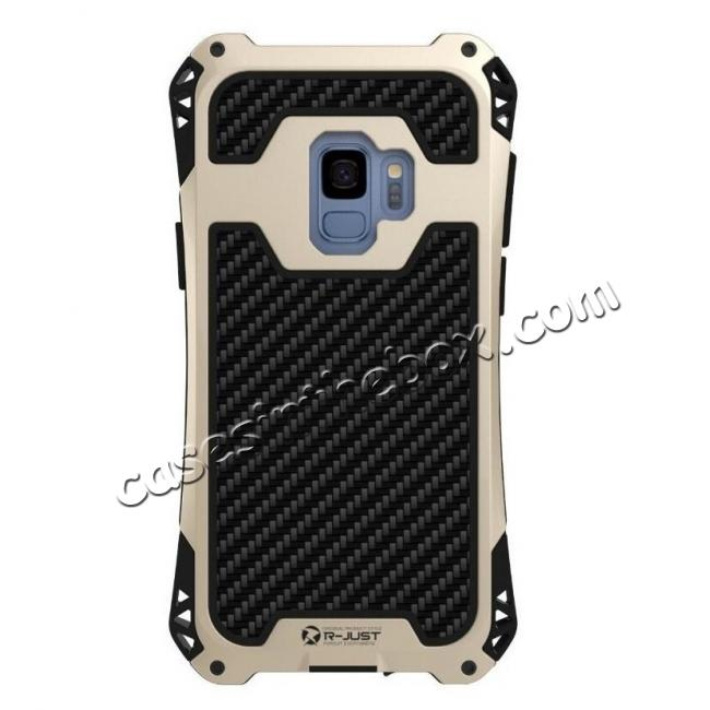 discount Aluminum Metal Bumper Silicone TPU Rugged Hard Shockproof Carbon Fiber Case for Samsung Galaxy S9 - Gold