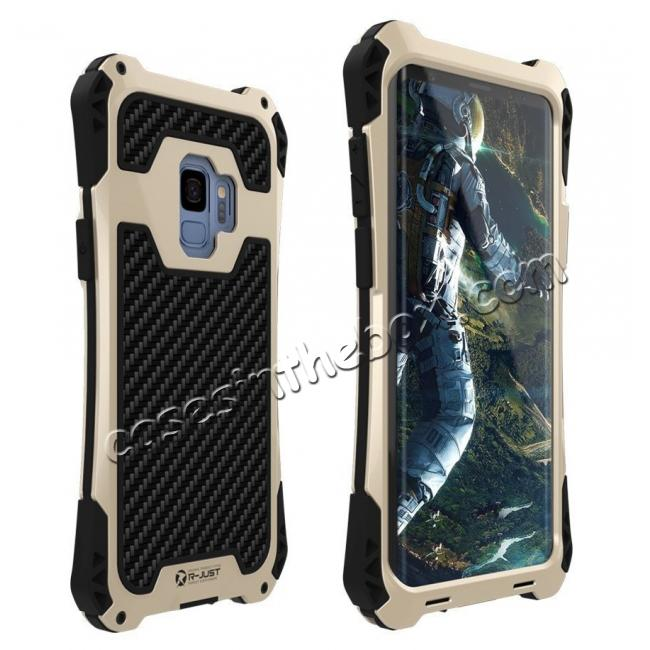 wholesale Aluminum Metal Bumper Silicone TPU Rugged Hard Shockproof Carbon Fiber Case for Samsung Galaxy S9 - Gold