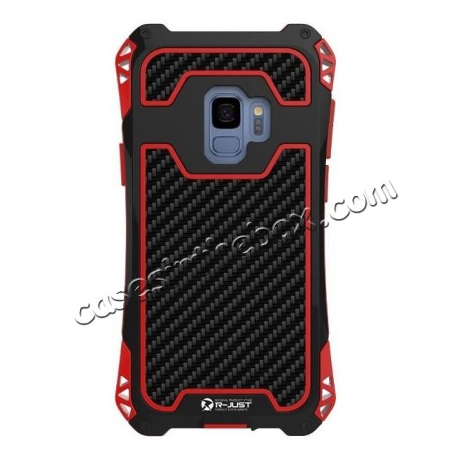 discount Aluminum Metal Bumper Silicone TPU Rugged Hard Shockproof Carbon Fiber Case for Samsung Galaxy S9 - Red