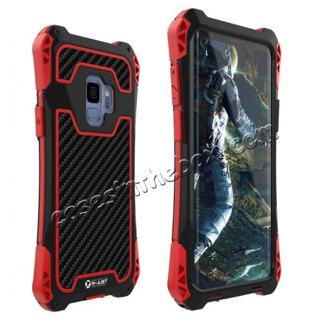 wholesale Aluminum Metal Bumper Silicone TPU Rugged Hard Shockproof Carbon Fiber Case for Samsung Galaxy S9 - Red